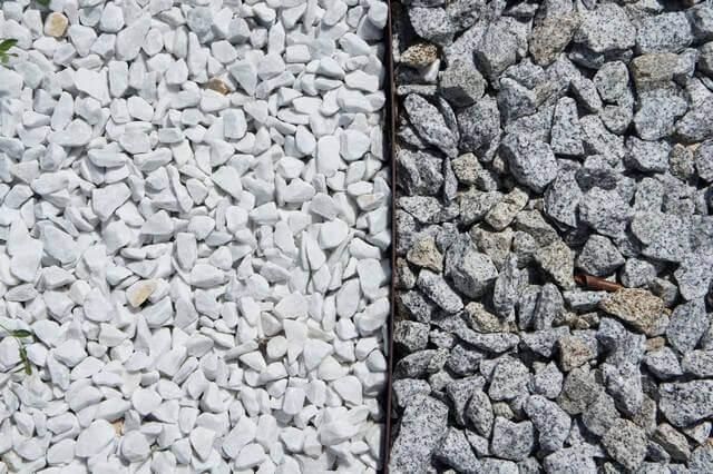 Zierkies in weiß und granitoptik