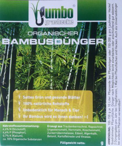 Bambusdünger, Nährstoffzusammensetzung, Inhaltsstoffe, Anwendungshinweise